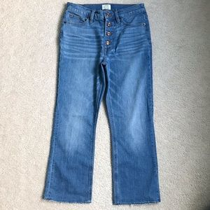 JCrew Billie Demi Boot Crop Button Fly Jeans